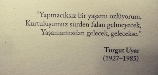 Pasiilgstu paprasto gyvenimo, Mūsų išsilaisvinimas neateis eilėraščiais, Jis ateis mums gyvenant, jei ateis Sakė Turgut Uyar.